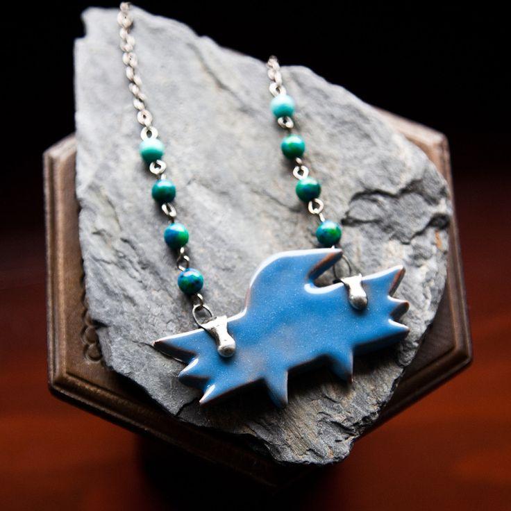 Friend Of Shaman Raven Ceramic Pendant Necklace by REZZABELLUM