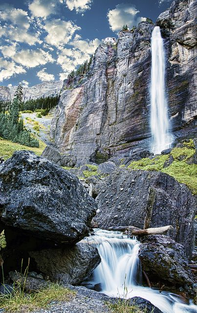 Bridal Veil Falls, Telluride, Colorado. Go to www.YourTravelVideos.com or just click on photo for home videos and much more on sites like this.