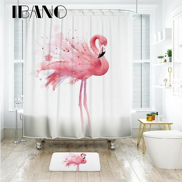 Ibano Flamingo Duschvorhang Wasserdichtes Polyestergewebe Bad Vorhang Für Das Badezimmer Mit 12 Stücke Kunststoff Haken Bodenmatte   – batbroom ideas