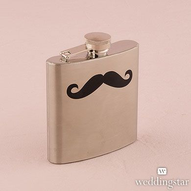We mustache you a question! Is there a cooler gift than our Stainless Steel Mustache Print Flask?? {wedding, groom, groomsmen, gift, present}