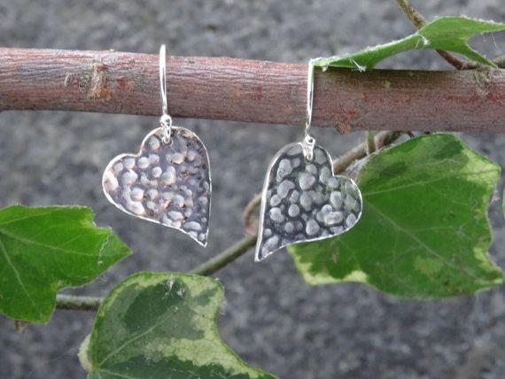 Silver Drop earrings  hammered hearts   by SilverWindsJewellery