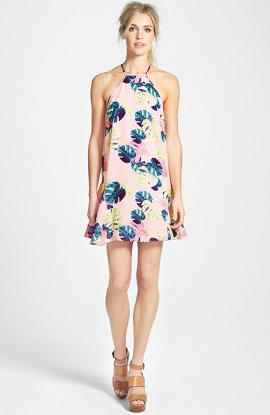 Free shipping and returns on Whitney Eve Palm Leaf Dress at Nordstrom.com. A high halter neckline and racerback detailing accentuate a pretty pink dress bedecked with a cool palm leaf print. Godet inserts at the hemline and a draped back panel give the style an elegantly swingy finish.