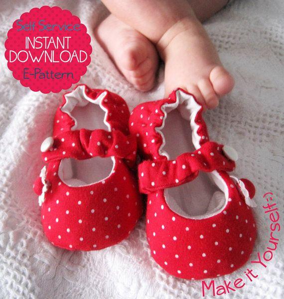 Zapatos de bebé de Mary Jane - 7 tamaños - patrón de costura PDF - Imprimir tamaño carta y A4 - descarga instantánea