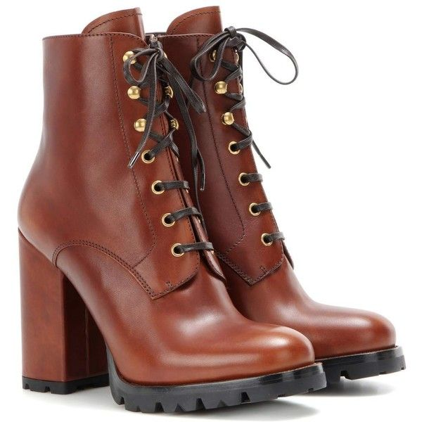 Prada Leather Ankle Boots ($780) ❤ liked on Polyvore featuring shoes, boots, ankle booties, bottes, brown, short brown boots, brown boots, short boots, leather ankle booties and ankle boots
