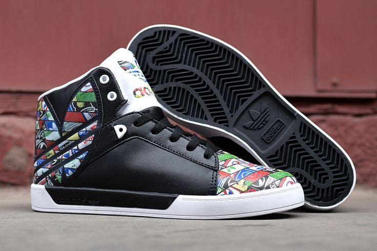 Adidas Attitude Vulc Big Logo Men High Top Shoes Black Multicolo