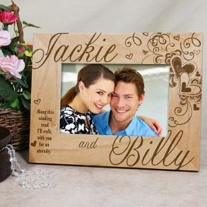 Personalized Engraved Couples Hearts Wedding Wood Picture Frame