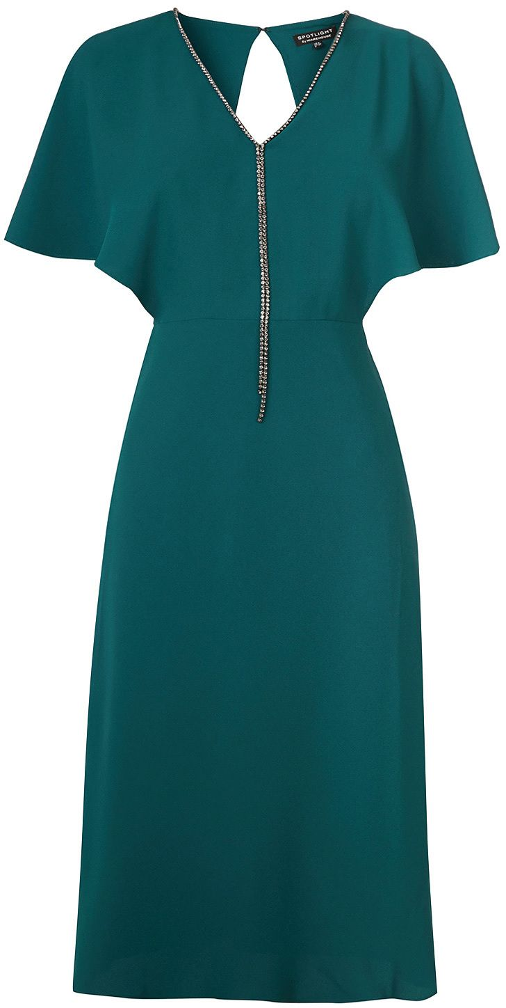 Womens teal diamante trim open back dress from Warehouse - £78 at ClothingByColour.com