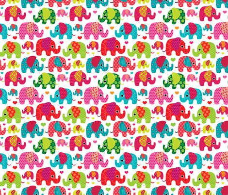 Retro Kids Indian Elephant Pattern Fabric By Littlesmilemakers On Spoonflower