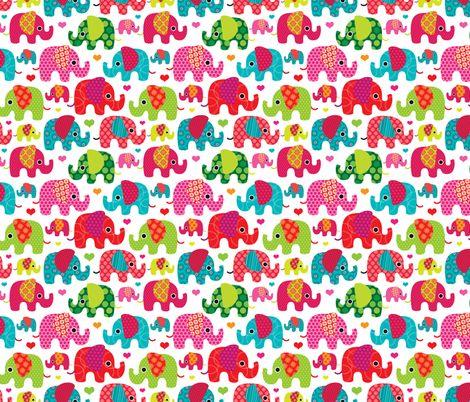 Retro Kids Indian Elephant Pattern Fabric Fabric By