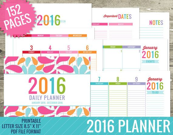 2016 Planner PRINTABLE PDF FILE  Weekly Planner  by TheNiftyStudio