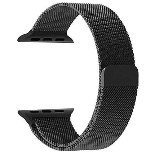 Apple Watch Band Penom Fully Magnetic Closure Clasp Mesh Loop Milanese Stainless Steel Bracelet Strap for Apple iWatch Sport & Edition 42mm - Black