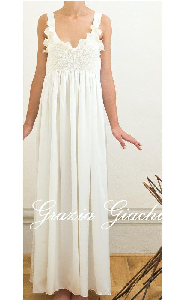 Long White Cotton Nightgown | ... Italian Lingerie, Nightgown Dalia 100% fine white cotton all hand made