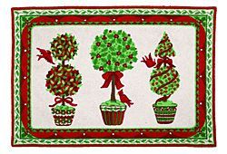 Christmas Rug - Christmas Topiary - Culturedliving.com    This bright & cheerful white, red & green trim Christmas rug w/ 3 topiary trees is from home designer Sally Eckman Roberts.  $109.00