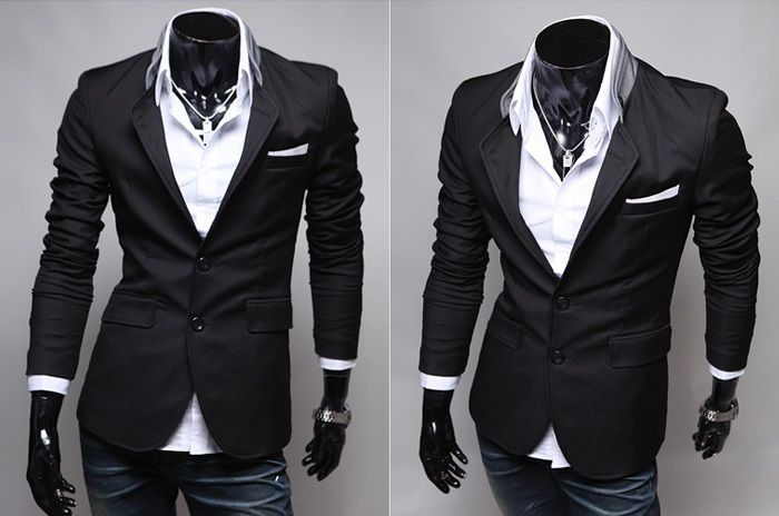 Blazer Casual Slim Fit Estilo Fashion - Dois Botões - Detalhes na Gola - Preto (MH898)