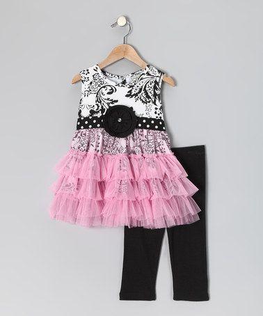 Look at this #zulilyfind! Black Damask Tunic & Leggings - Infant, Toddler & Girls #zulilyfinds