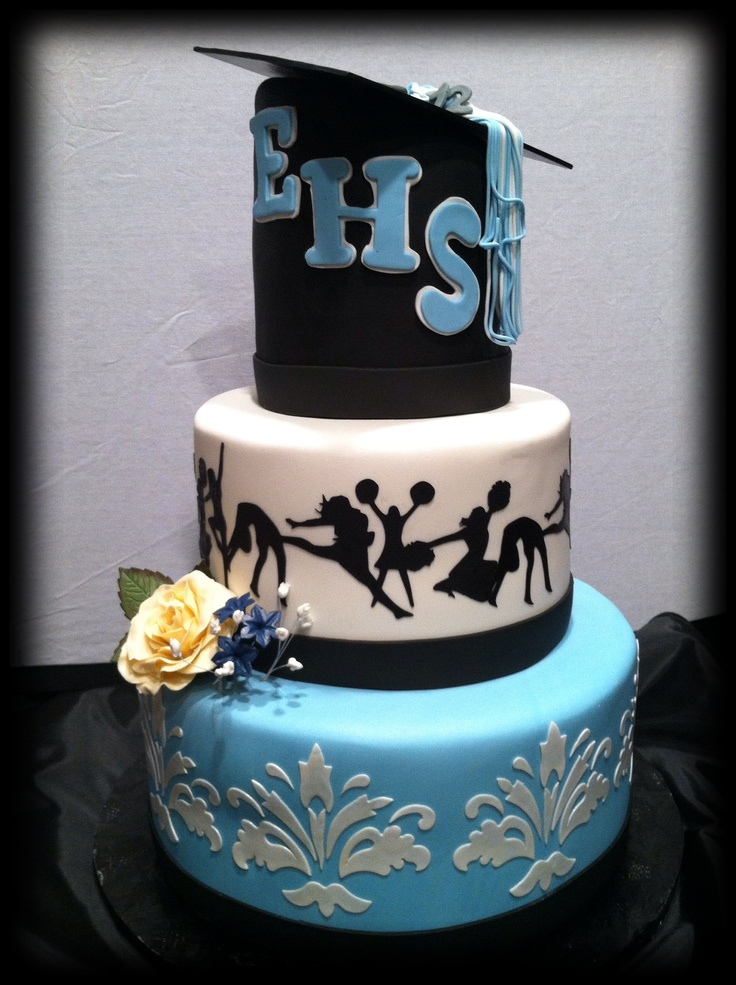 This graduation cake was made for a graduate that was in cheerleading and dance.