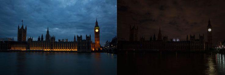 The houses of parliament before and after the lights being switched off. | Spine-Tingling Photos Of London As It Remembers World War I