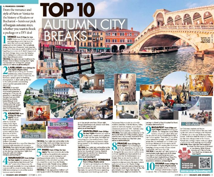 Untravelled Paths Bucharest City Break Feature in The Sunday Mirror on 6th November 2013
