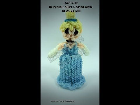Rainbow Loom Princess Cinderella - Standing Dress Up Doll with Detachable Skirt. Designed and loomed by Kate Schultz of Izzalicious Designs. Skirt Design inspired by Craft Life lip balm case. Click photo for YouTube tutorial. 04/20/14.