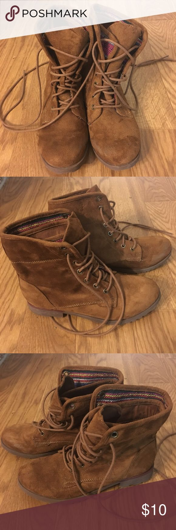 tan lace up boots size 7. tan/camel color. made from soft faux suede-like material. there are some scuffs on the toes (see pictures) so i'm selling for less, but aside from that they're in good condition! lace up combat boot style. they can fold down. Shoes Lace Up Boots
