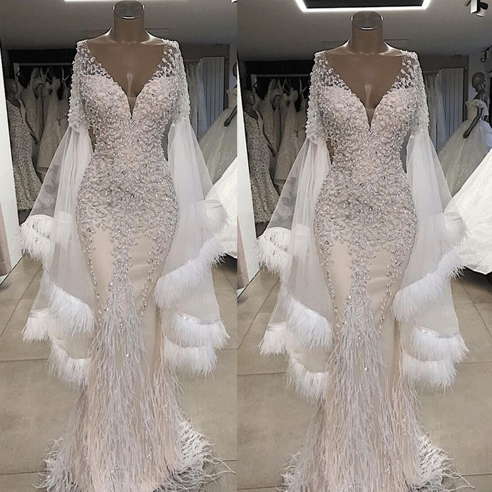 Feather White Evening Dresses Long Dubai Fashion Crystals Beaded Mermaid Luxury Evening Gown Vestido De Longo White Evening Dress Lace Evening Dresses Evening Dresses Long