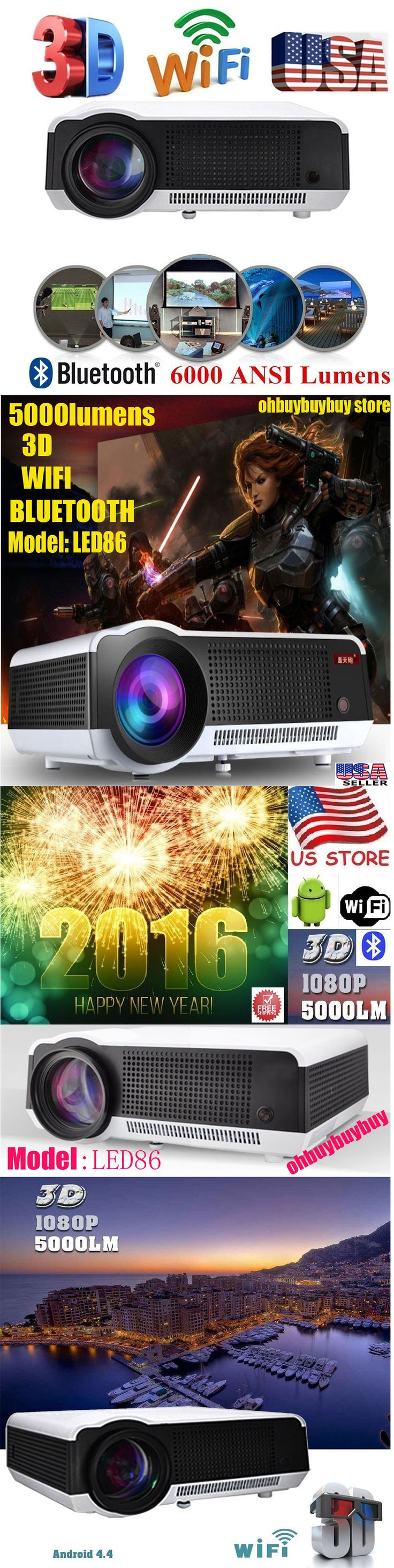 Home Theater Projectors: 6000Lumen Wifi Wireless 3D Hd 1080P Home Theater Hdmi Projector Android 4.4 -> BUY IT NOW ONLY: $199.48 on eBay!