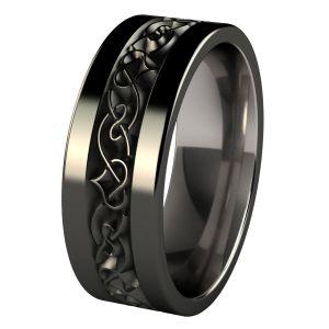 Yseult Black diamond treated titanium wedding band - exciting engraving