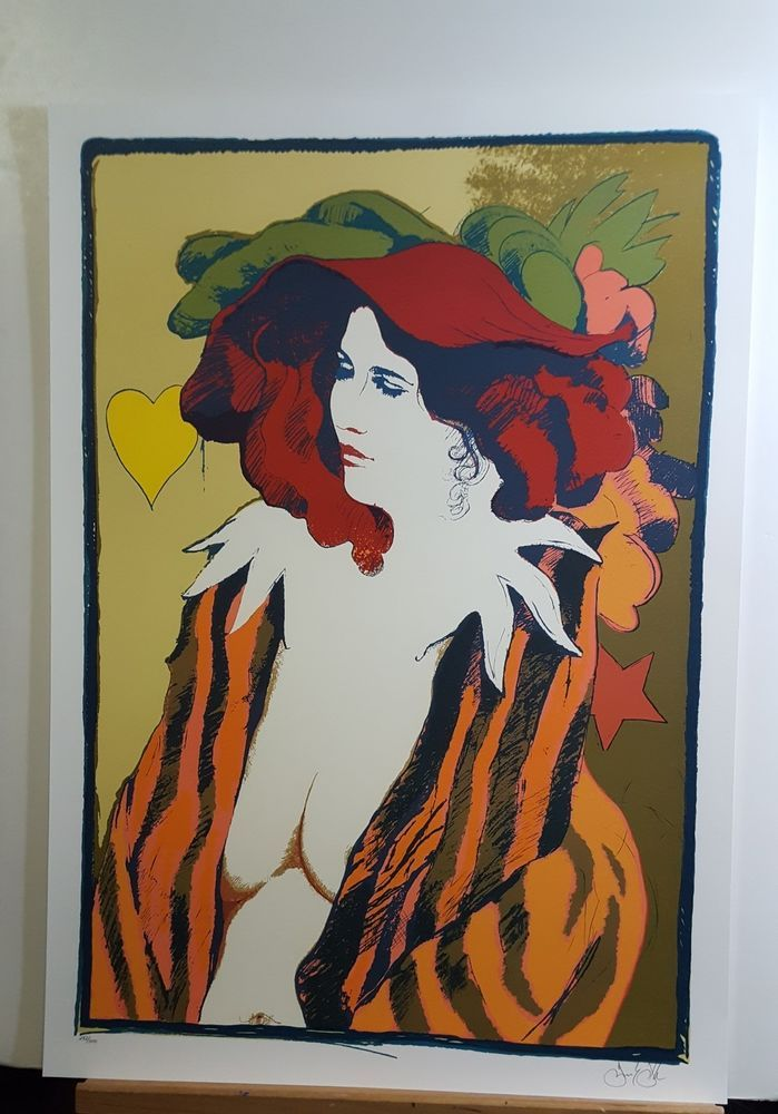 JULY SALE!    FRANK GALLO, Original Lithograph, Le Chapeau Rouge, Signed