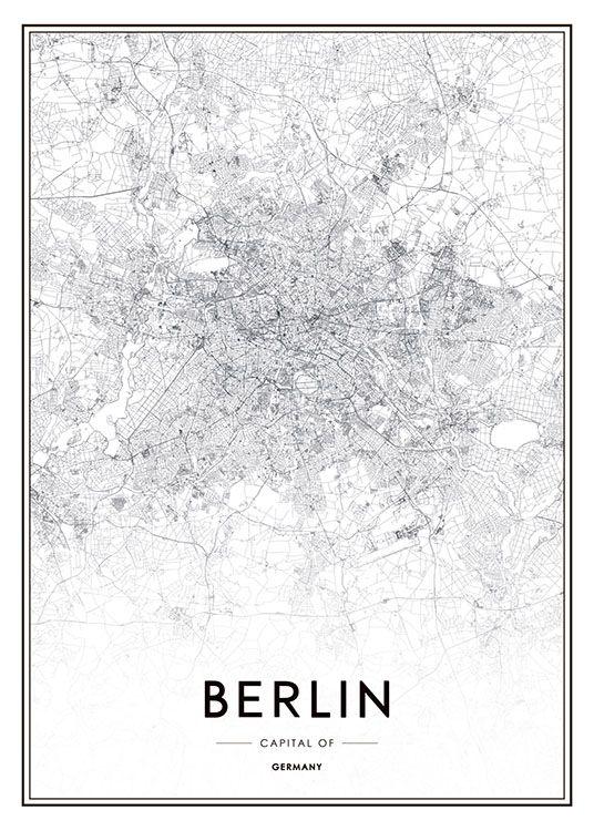 Poster mit schwarz-weißer Berlin-Karte