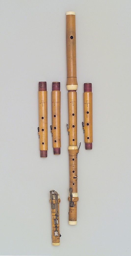 1795 German (Potsdam) Transverse flute. Kirst was one of the foremost German flute makers of his generation. The instrument comes with four exchangeable upper-middle sections to tune the flute in different pitches, and an additional C-foot for the notes c-sharp and c.