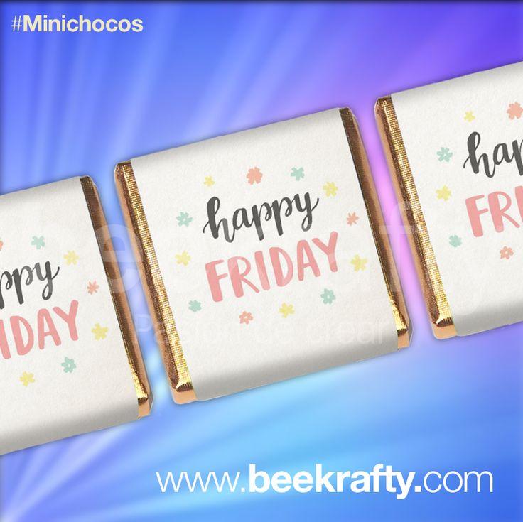 Happy Friday a todos! Espero que tengan un lindo día. En www.beekrafty.com personalizamos las chocolatinas con lo que quieras. Si tienes alguna pregunta, no dudes en contactarnos. #happyfriday #chocolatinas #beekrafty #pasionporcrear