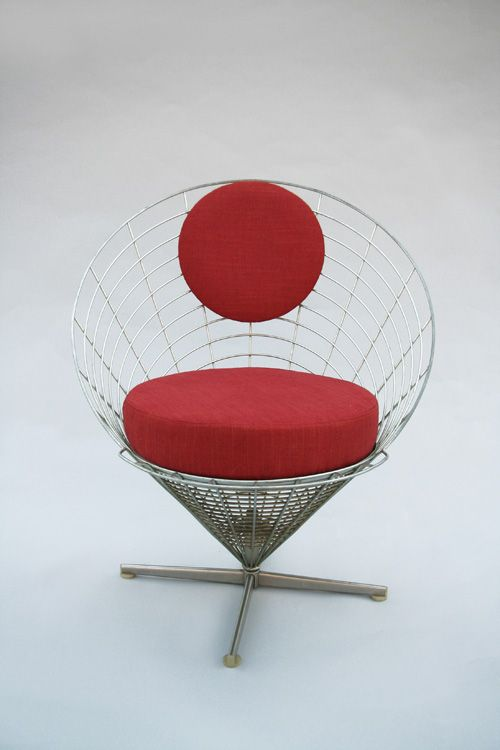 for sale through vntg wire cone lounge chair by verner panton for plus linje