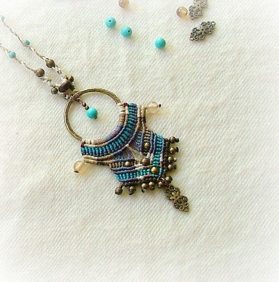 Micro macrame necklace with a bronze dangle in gorgeous turquoise and blue