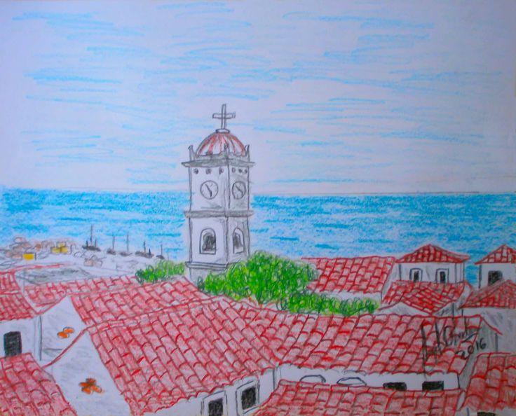 paisaje de la Guaira a comienzos del siglo 20,dibujo realizado de una foto antigua de un libro sobre la fundacion de la Guaira.