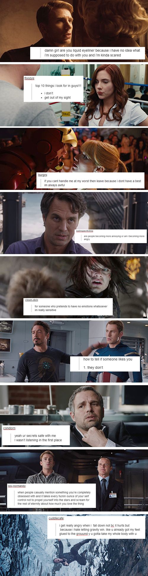 If the Avengers were on Tumblr... The intimate thoughts of Steve Rogers, Natasha Romanov, Tony Stark, Bruce Banner, Bucky Barnes and Agent Coulson.