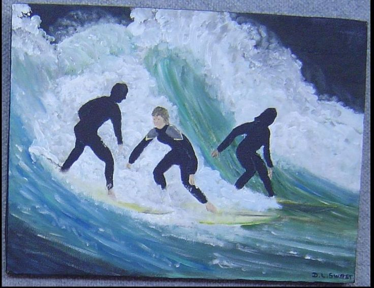 """Surf's Up"" - inspired while watching surfers in the Bay near my home"