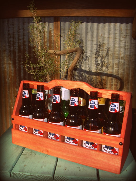 12 pack beer bottle wooden crate carrier with by