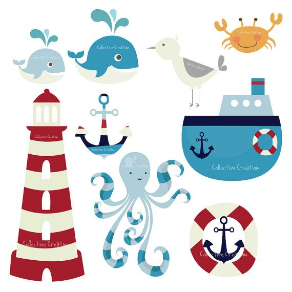 Nautical Themed Digital Clip Art Set - Personal and Commercial Use