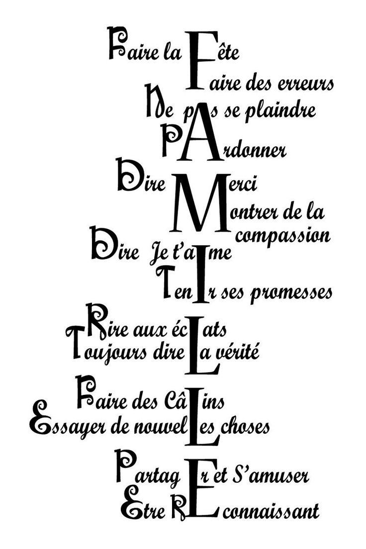 Vente AMBIANCES L'ESPRIT DÉCO STICKERS / 25727 / Lettrage / Règles de vie / Sticker Définition de la famille Noir