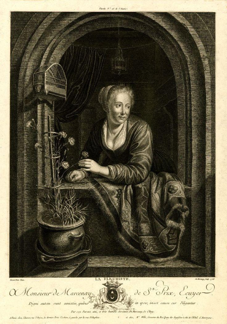 Antoine de Marcenay de Ghuy: la fleuriste. Naar Gerard Dou. 1766. RKD (Collectie Oude Nederlandse Kunst), Den Haag. Verwant aan Gerard Dou: Jonge vrouw in een venster met een koperen schaal met appels en een dode fazant.