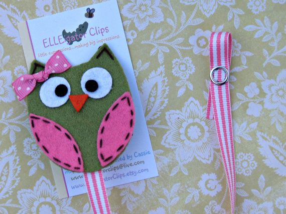 Pink and Green Felt Owl Pacifier Clip Holder - 0010 - Miss Who - Paci Clip / Baby Gift