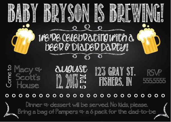 Digital Chalkboard Style Diapers And Beer Baby Shower