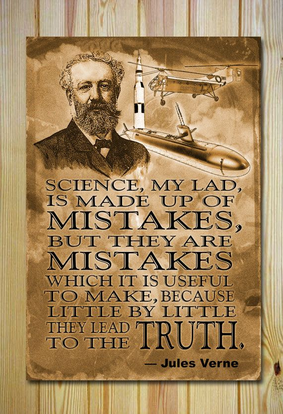Fine art quality poster/print featuring a quote by master of science fiction Jules Verne