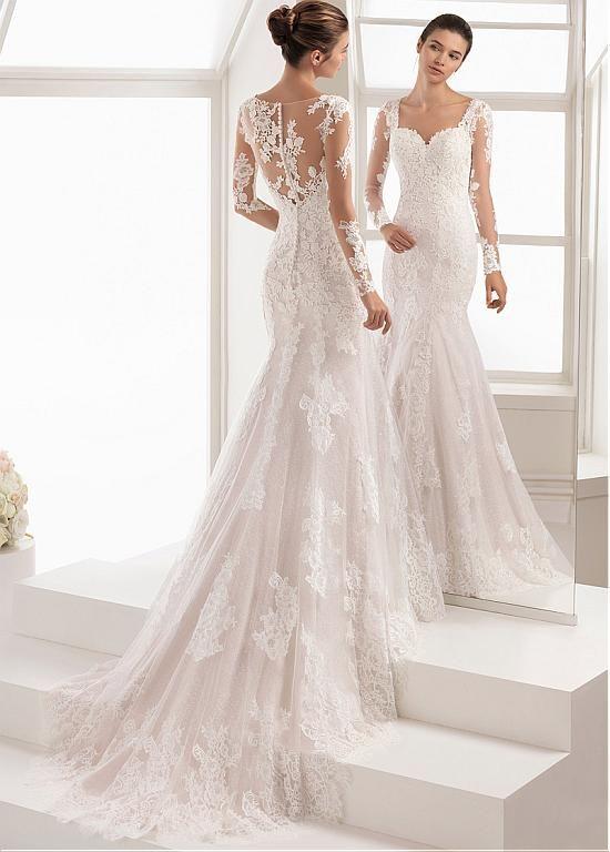comprar vestido de novia de sirena con escote corazón y escote