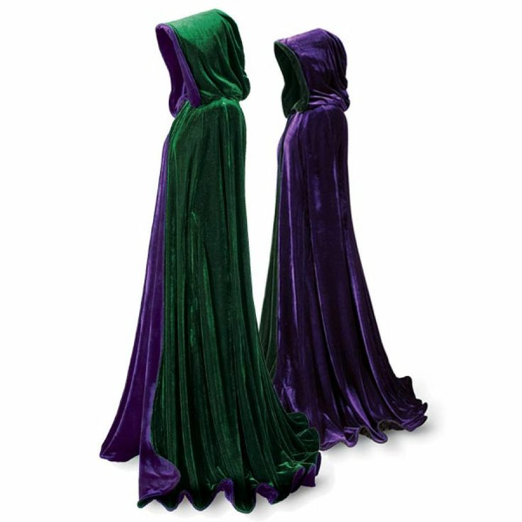 Emerald and Purple Velvet Cape from Pyramid Collection. This would make for a great Morgana costume.