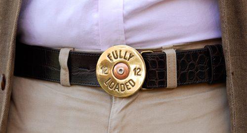 Detachable Brass Fully Loaded cartridge buckle £45 on brown croc belt £75