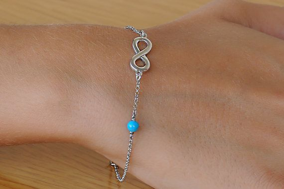 Silver infinity Turquoise infinity 925 sterling by Wavejewels