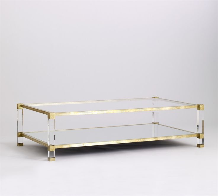 coffee table, lucite, brass