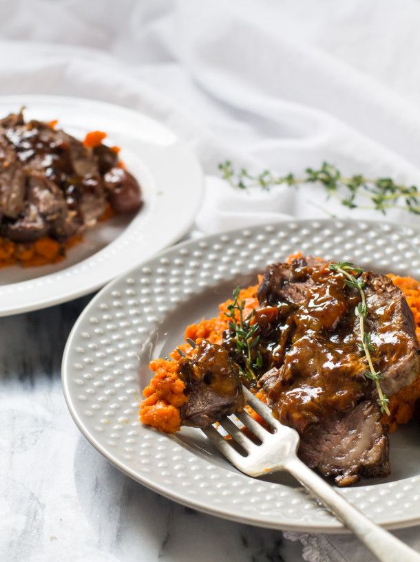 One-Pot Braised Beef Roast with Carrot Mash & Olives Recipe