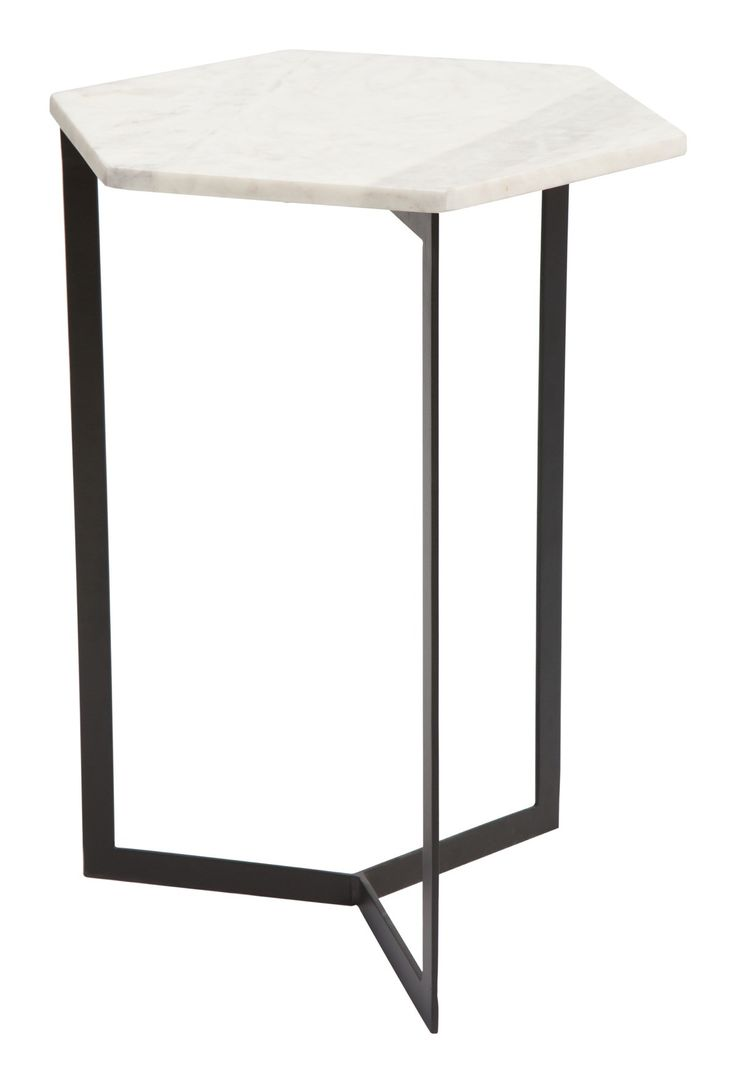 Rys Accent Table with Hexagon White Faux Marble Top on Black Iron Base